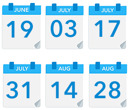 Code delivery dates: June 19, July 3, July 17, July 31, August 14, August 28
